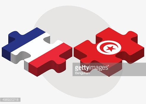 France and Tunisia Flags