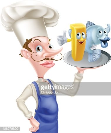 Chef Holding Fish and Chips