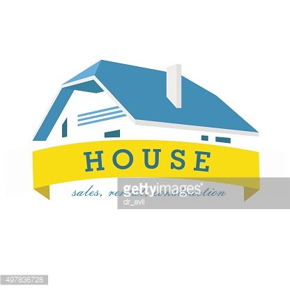 House logo design template. Realty theme icon. Building vector silhouette.