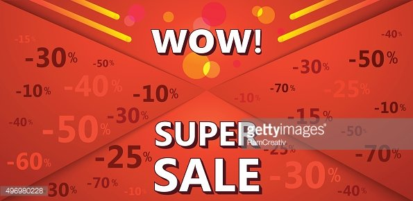 Super sale banner of red color with discount percentages.
