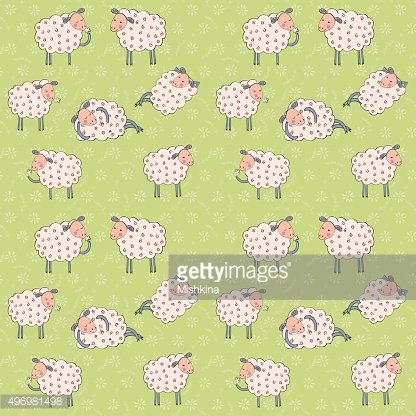Seamless pattern with cartoon sheeps.Kids vector background.
