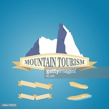 Mountains symbol with ribbon. Vector illustration isolated on white background