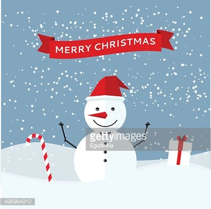 Greeting card with Christmas snowman
