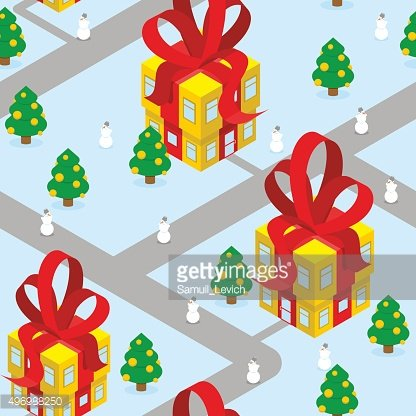 Gift Christmas city seamless pattern. Fantastic urban district.