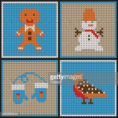 Knitted backgrounds with Christmas theme.