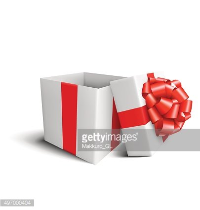 Celebration Gift Box with Red Bow Isolated on White