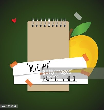 Welcome back to school with paper note, vector illustration.