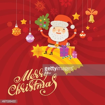 Santa Claus. Merry Christmas and happy new year. Greeting card