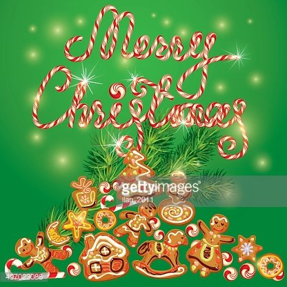 Greeting Card of xmas gingerbread, Merry Christmas on green background.