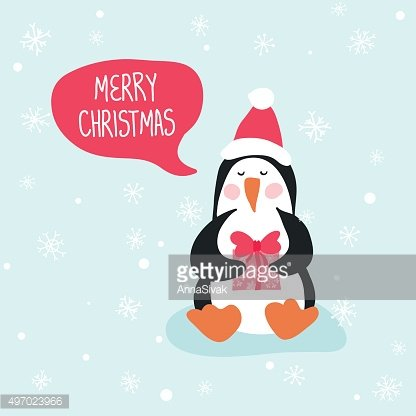 Penguin Christmas Card- for design and scrapbook