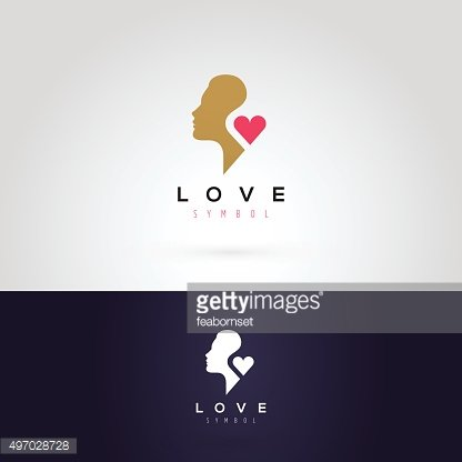 Vector graphic illustration of a woman silhouette with a heart