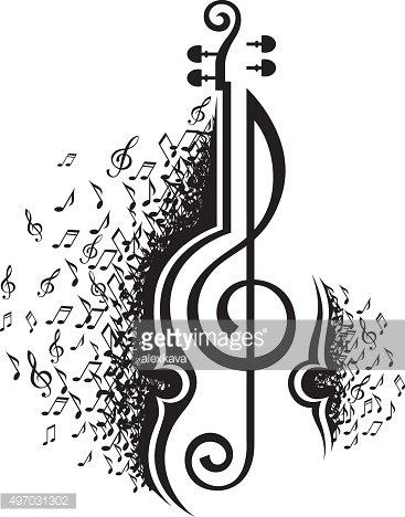 musical notes and violin
