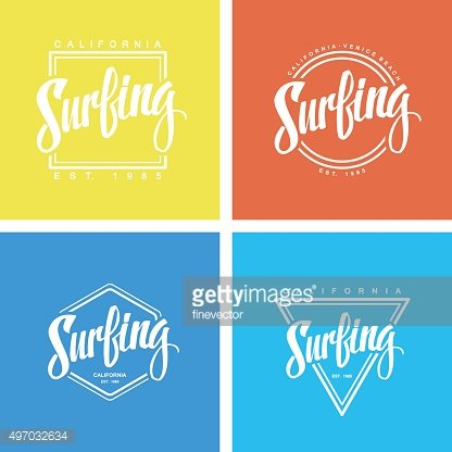 Set of surfing labels and logos.