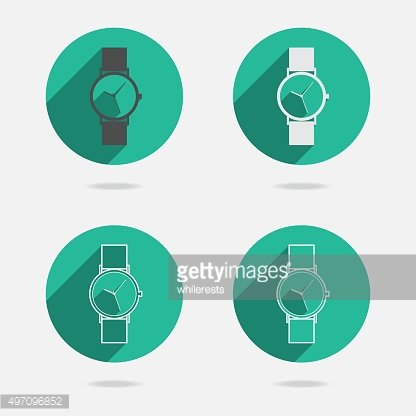 Trendy wristwatch icon with long shadow