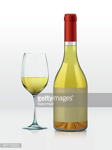 Realistic vector graphic bottle and glass with white wine