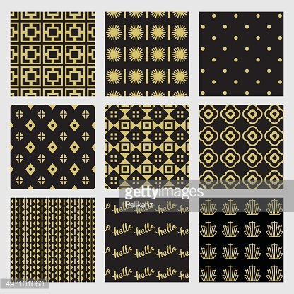 Black and golden geometrical and Art Deco patterns set