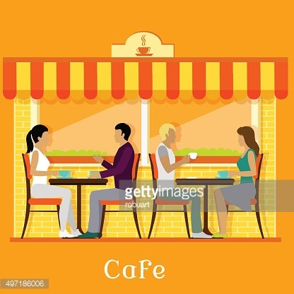 Facade Urban Cafe with Customers