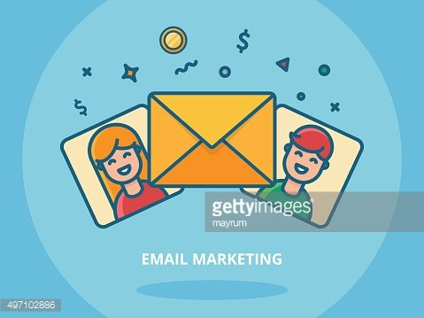 Email marketing and blogging concept vector illustration