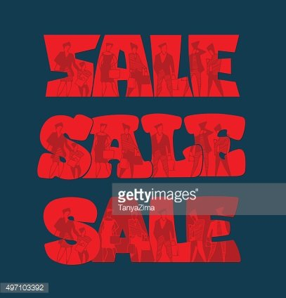 Text SALE with silhouettes of people with purchases. Vector