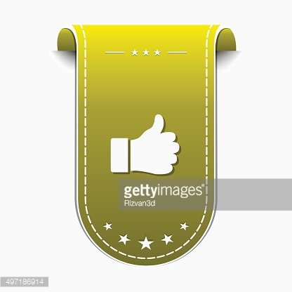 Thumbs Up Yellow Vector Icon Design