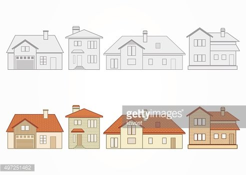 Set of suburban homes. Vector illustration