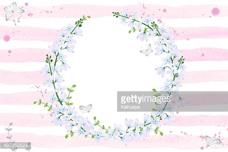 Watercolor delicate floral wreath on a striped pink background