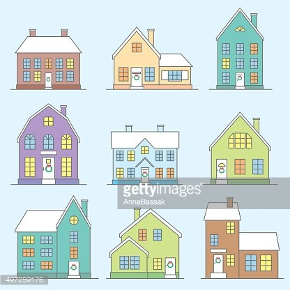 vector thin line houses icons set