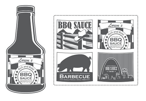 bbq sauce label template - lorem 39 s bbq sauce bottle with labels premium clipart