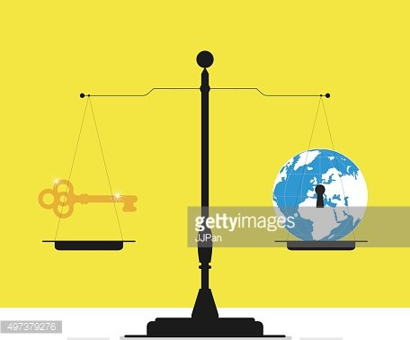 Scales with a gold key and a globe