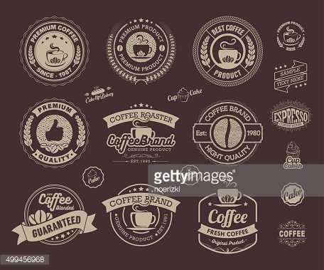 Set of vintage retro coffee labels and badges