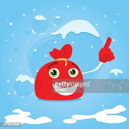 Red Santa Bag Cartoon Character Point Finger Up Show Empty