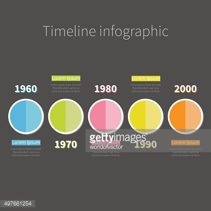 Timeline Infographic with colored round half circle text. Template. Flat
