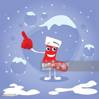 Christmas Red Socks Point Finger Up Show Empty Copy Space