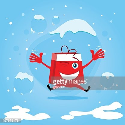 Red Shopping Bag Cartoon Character Jump Hold Hands Up Excited