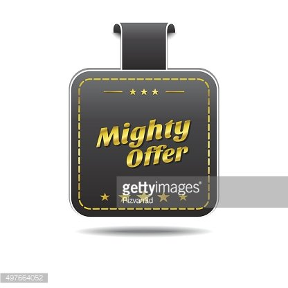 Mighty Offer golden Vector Icon Design