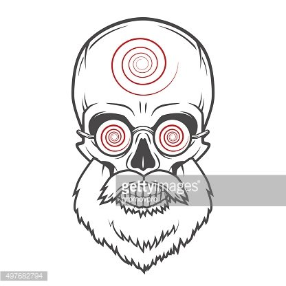 Bearded skull with hypnotic glasses. Crazy steampunk magician portrait. Dead