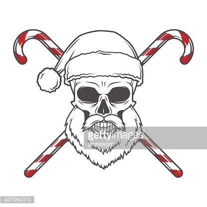 Bearded Skull Santa Claus with candy canes poster. Vintage Christmas