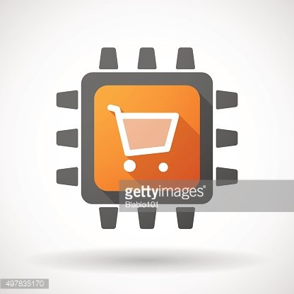 CPU icon with a shopping cart