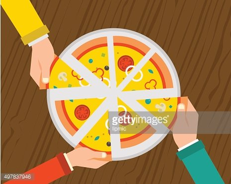 People sharing a huge pizza , hands top view