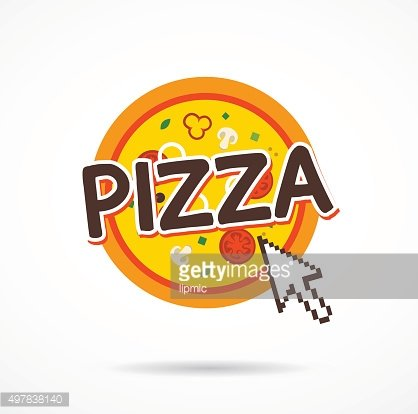 Online pizza order icon. internet arrow on pizza icon