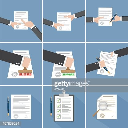 Vector agreement icon - hand signing contract set