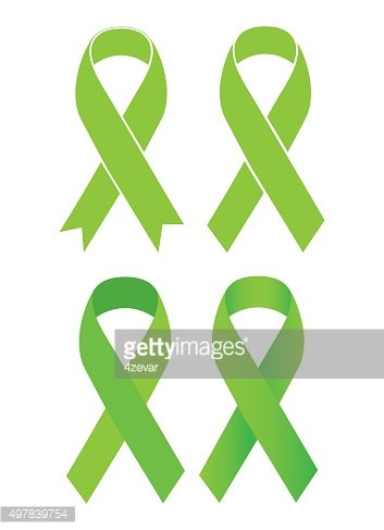 Symbol of Scoliosis. Green ribbon