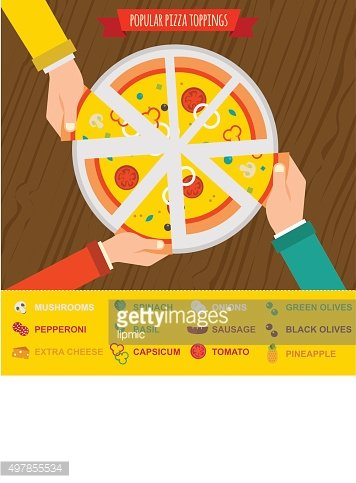 popular pizza toppings, hands top view. infographics
