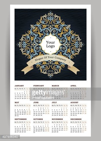 Vector Calendar for 2016 with illustration in Eastern Style.
