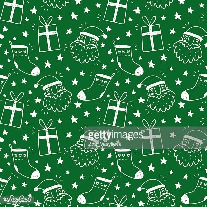 Sketchy green vector seamless pattern with Christmas symbols