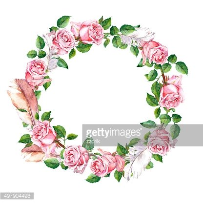 Rose flower wreath with feathers. Floral circle border. Watercolor