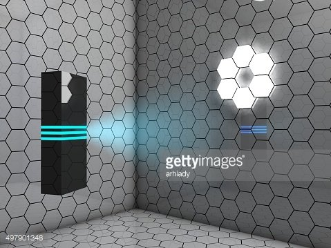 Blue lighting cuboid totem in a surreal abstract interior, background