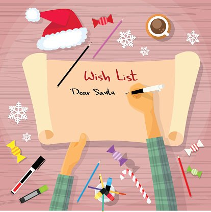 Merry Christmas Writing Clipart.Merry Christmas Wish List To Santa Clause Child Hand Writing