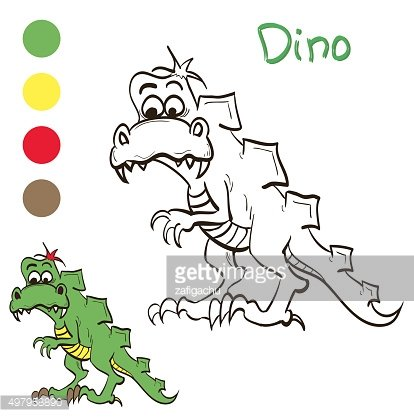 Coloring dinosaur with color samples for children