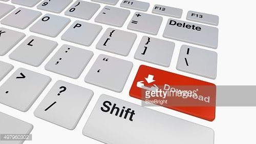 Keyboard with red download button